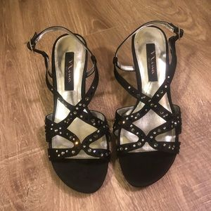Nina black and silver studded sequence heels
